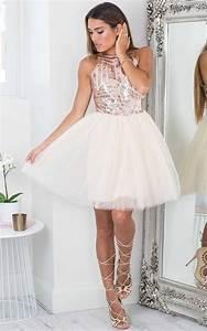 Rose Gold Sequin Tulle Flared Dress | Dresses Under 100 ...