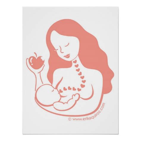 Ibu Menyusui Vector Breast Feeding Mother And Child Poster Zazzle