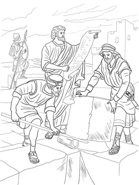 nehemiah rebuilding  walls  jerusalem coloring page