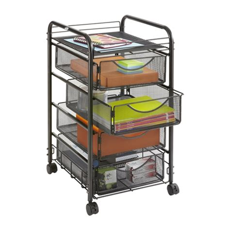 chrome wire shelving 4 drawer onyx mesh file cart office organizer safco