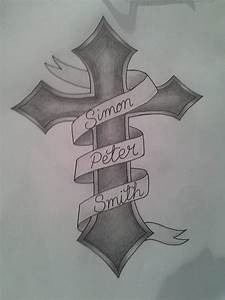 Tattoo Design: Cross, Banner by princessjade88 on DeviantArt