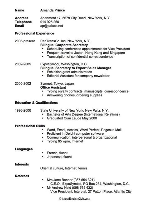 cvresume bilingual secretary cv resume sample sample