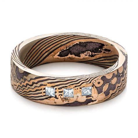 custom men s diamond and mokume wedding band 101247 seattle bellevue joseph jewelry