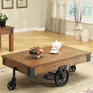 Inspirational rustic coffee table with wheels for living for White coffee table with wheels