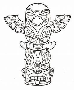 Printable totem pole coloring pages coloring me for Totem pole design template