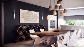 esszimmer pendelleuchten rustic modern dining table interior design ideas
