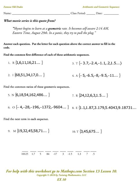 Ex 10 Arithmetic And Geometric Sequences Mathops