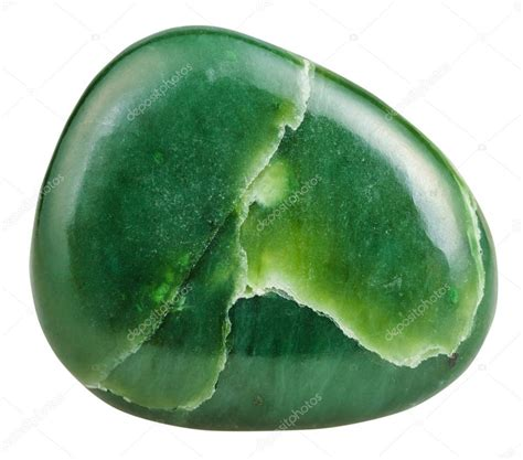 polished green Nephrite (jade) mineral gem stone — Stock