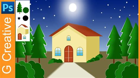 Photoshop Work I House And Full Moon Background For 2d