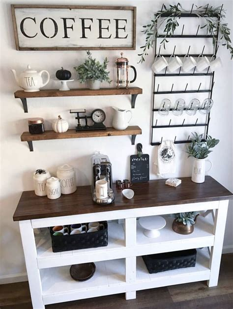 There are several bar cabinet ideas for all those of you who don't have the space for a large bar for coffee and wine places. 30+ Best Home Coffee Bar Ideas for All Coffee Lovers in ...