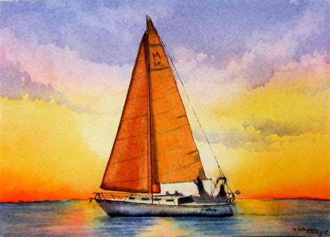 Boat Paint Terms by Sailboat At Sunset Painting Watercolor Tammy Morrison