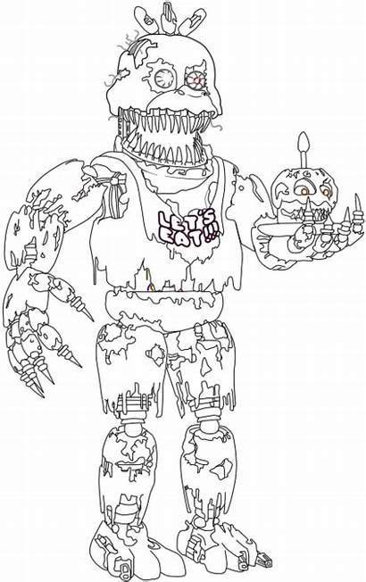 Nightmare Chica Coloring Progress Pngkit Transparent Automatically