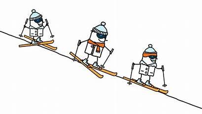 Ski Skiing Cartoon Famille Tekening Familie Sci