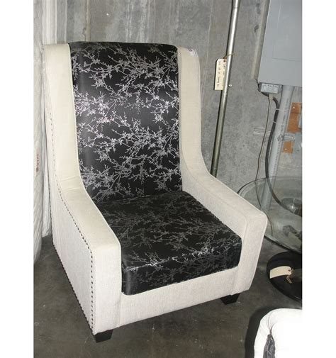 living room high back accent chair white with black