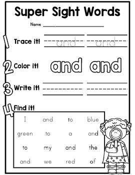{cute} Dolch Preprimer Sight Word Practice Worksheets For Kindergarten  Kindergarten Sight