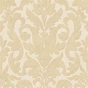 Dalarni Damask Pattern Wallpaper, Cream, Sample ...