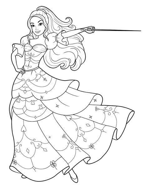 coloring page barbie   sword