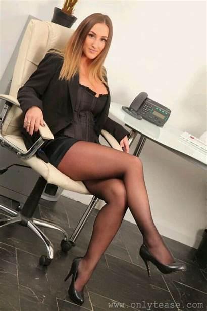 Legs Pantyhose Secretary Office Crossed Stockings Nylons