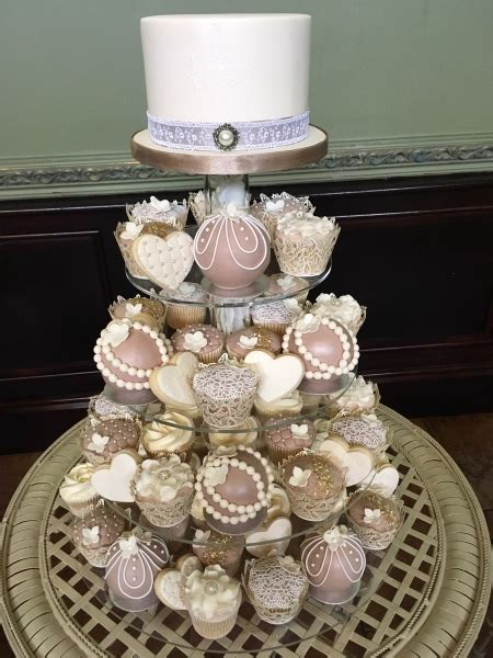 mocha ivory cupcake tower wedding cupcakes  cake