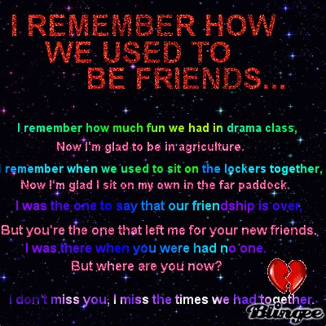 I Remember How We Used To Be Friends Picture #118402951
