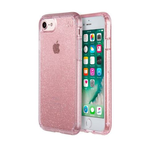 PRESIDIO CLEAR + GLITTER IPHONE 7 CASE- ROSE PINK WITH