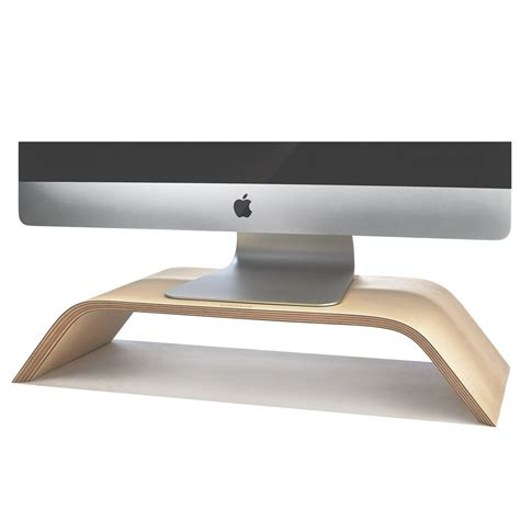 desk with monitor shelf wood monitor stand imac riser in maple by grovemade