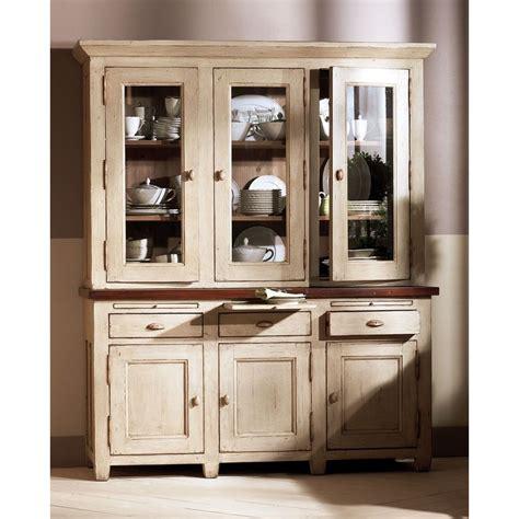 buffet haut cuisine haut de buffet vaisselier 3 portes vitrées beige