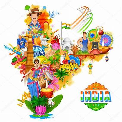 India Background Showing Incredible Illustration Culture Diversity