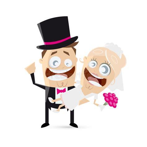 funny cartoon wedding couple stock vector illustration
