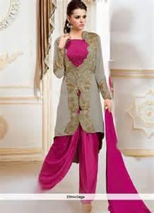 designer suits marvelous grey georgette embroidered designer suit