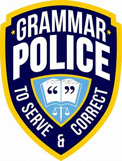 Grammar Police Badge Enic Stickers Redbubble Levy
