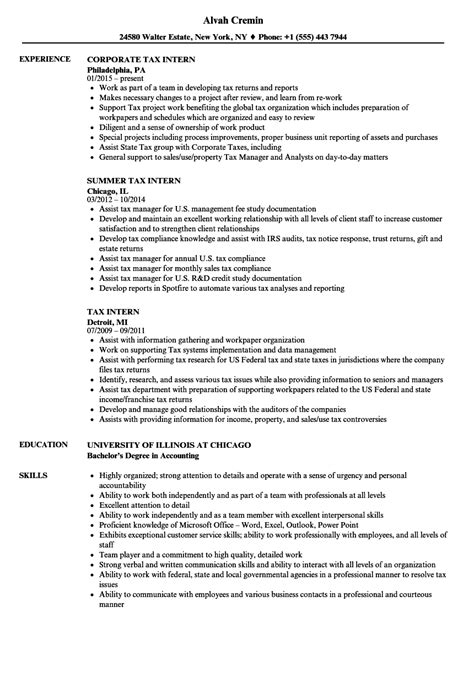 Accounting Intern Resume by Tax Intern Resume Sles Velvet