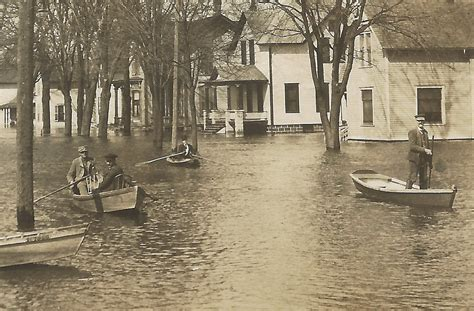 SW Three Rivers MI RPPC Boats outside Flooded Homes Nicely ...