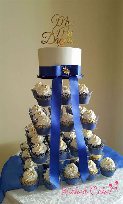gold  navy blue themed wedding cake cupcakes www