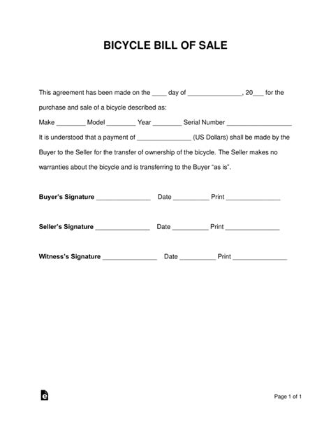 what is a bill of sale form free bicycle bill of sale form pdf word eforms