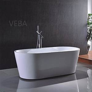 Veba, 55, Inch, Freestanding, Tub, Small, Free, Standing, Acrylic, Bathtub, With, Overflow, Drain, And, Hose