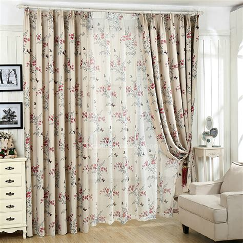 Country Style Printed Floral Pattern Polyester Privacy Curtain
