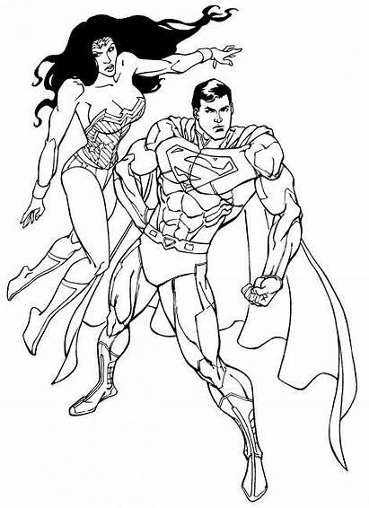 Wonder Coloring Woman Pages Superman Printable Batman