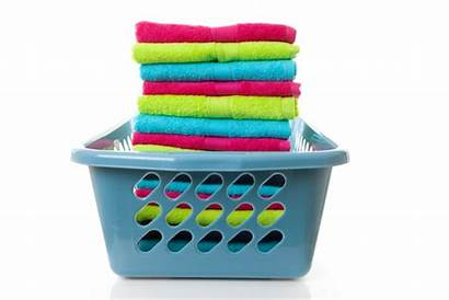Laundry Basket Folded Towels Clipart Cleaning Colorful
