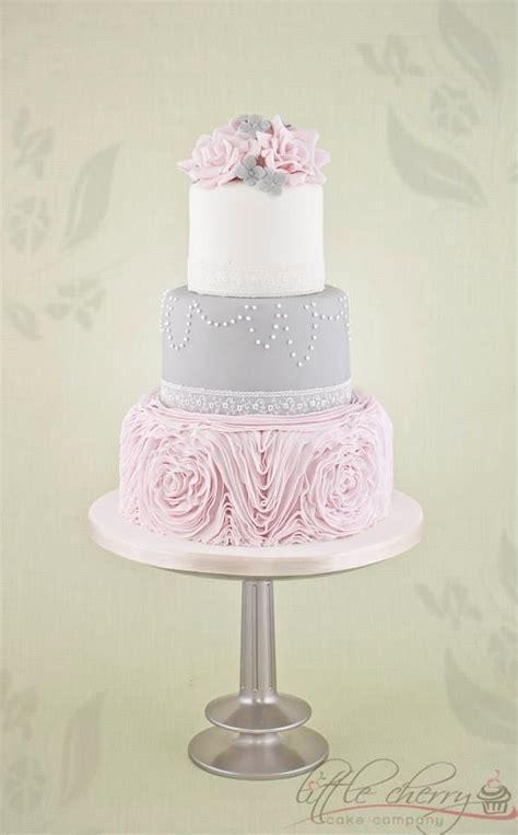 gray  pink accent wedding cake wedding cakes