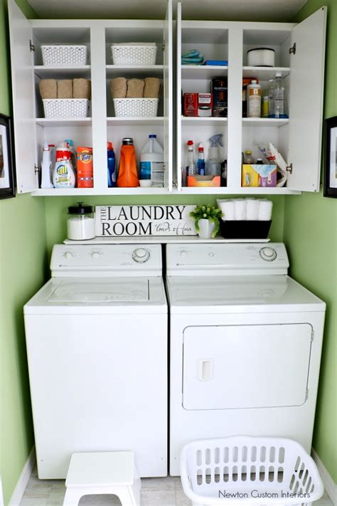 Open Shelf Kitchen Ideas - organizing a small laundry room newton custom interiors