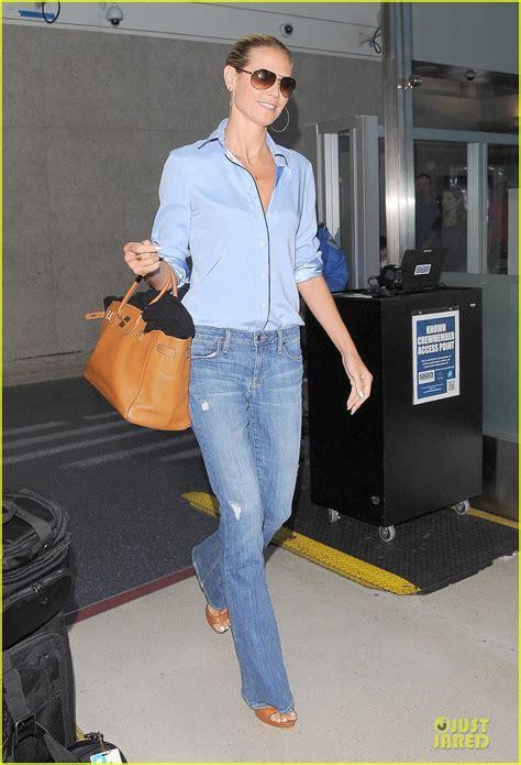 Heidi Klum Gives Little Peek Black Bra Lax Airport