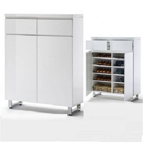 sydney shoe storage cabinet  high gloss white