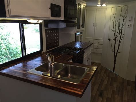 kitchen islands with butcher block top crafted butcherblock countertops for rv by mga custom