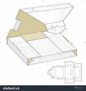 Shipping Box Wrapper With Die Cut Template Stock Vector