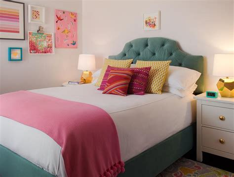 Green And Pink Girls Bedroom With Gold Lamps
