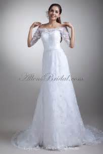 the shoulder wedding dress with lace sleeves allens bridal lace the shoulder neckline chapel a line half sleeves wedding dress