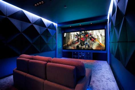 Contemporary Home Theater With Flat Ceiling