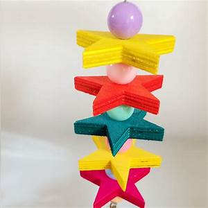 Colorful Wooden Star Cubes Blocks Bird Parrot Cage Chew ...