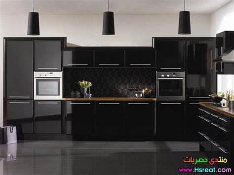 gloss or matt kitchen cabinets مطابخ اكليريك باللون الاسود شيك وجديد صور مطابخ جميلة 6868